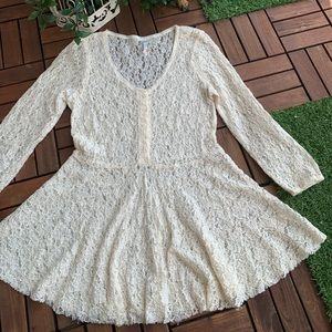 Free people Blouse Ivory Peplum 3/4 sleeve Lace S
